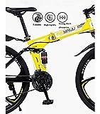 URPRU Bicicleta de montaña para Adultos Bicicleta Plegable Cuadro de Acero de Alto Carbono Bicicletas MTB de suspensión Completa Freno de Doble Disco Pedales de PVC-White_26_Inch_24_Speed