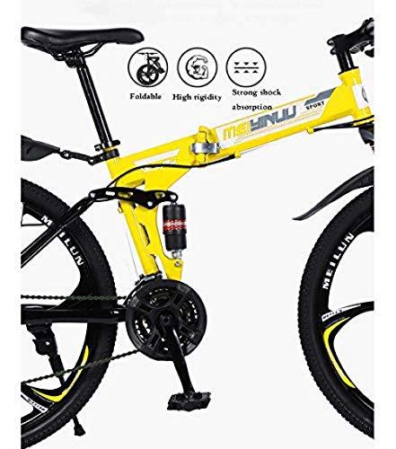 URPRU Bicicleta de montaña para Adultos Bicicleta Plegable Cuadro de Acero de...