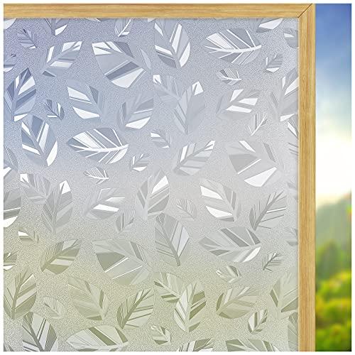 Coavas Pellicola per vetri Privacy Nessuna Colla Adesivo per vetri statico Adesivo per vetri Satinato Pellicola per vetri statici per Foglie Decorative per Ufficio Domestico 44.5x200cm