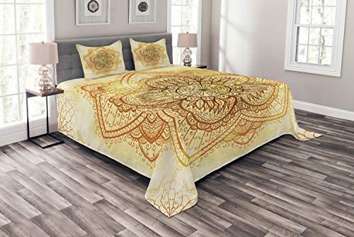 ABAKUHAUS orientalisch Tagesdecke Set, Künstlerische Alte Mandala, Set mit Kissenbezügen Kein verblassen, für Doppelbetten 264 x 220 cm, Dunkel Orange & hellgelb