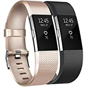 Tobfit Fitbit Charge 2 Straps Band Sport Replacement Wrist Strap for Fitbit Charge 2 Fitness Tracker (2-Pack Champagne Gold+Black, Small)