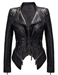 Fabric: high quality pu leather; Lining: 100% Polyester Vintage stand collar, front double layers closure with zipper Decorative rivets on shoulder, waist and cuff, removable side bottoms Long sleeve with zip slits, washed faux pu leather fabric, sui...