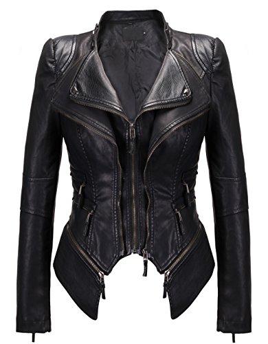 chouyatou Women's Fashion Studded Perfectly Shaping Faux Leather Biker Jacket (Medium, New-Black)