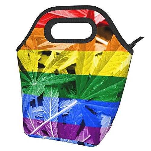 Bandera del arco iris sobre el cannabis. Política de drogas. Legalización de la bolsa de almuerzo de marihuana Bolsa de almuerzo aislada para mujeres hombres adultos niños adolescentes niños adolescen