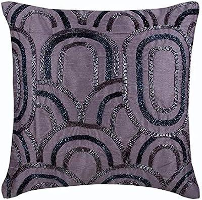 Amazon Com The Homecentric Handmade Purple Accent Pillows Lattice Trellis Pattern Beaded Pillows Cover 14x14 Inch 35x35 Cm Pillows Cover Square Silk Pillowcase Geometric Modern Cushion Purple Capsules Home Kitchen