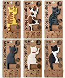 6 Pcs Cat Magnets for Fridge, Cartoon Refrigerator Magnets Hooks Hanger for Photo Memo Key, Fridge Magnet Stickers Hanging Hook for Kitchen Office Room Decoration