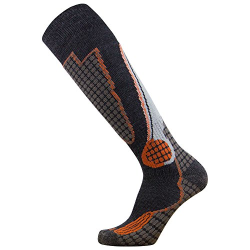 Pure Athlete High Performance Wool Ski Socks – Outdoor Wool Skiing Socks, Snowboard Socks (Black/Grey/Orange, Small)