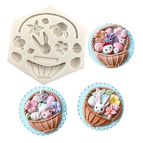 Siliconen vorm voor marsepein en fondant, 3D bloemenmand siliconen vorm, cake fondant decoratie, Easter Bunny Egg Mold, chocoladevorm bakgereedschap