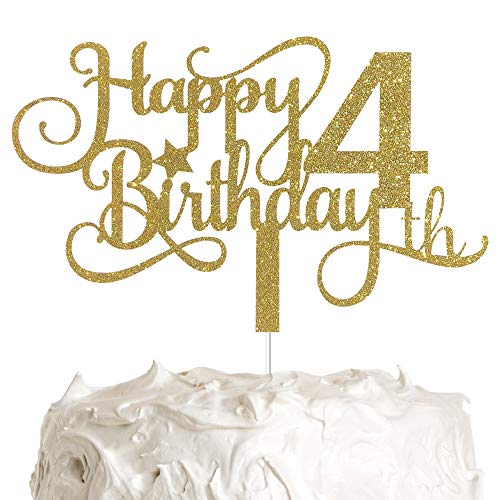 ALPHA K GG 4th Birthday Cake Topper, Happy 4th Birthday Cake Topper, 4th Birthday Party