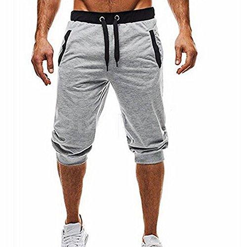 MOVERV Pantalones 3/4 Deportivos Hombre,Sólido Apretados Pantalones,Joggers Cuerda Elástico Moda Cómodos para...