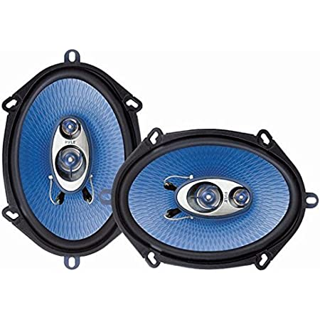 """5"""" x 7"""" Car Sound Speaker (Pair) - Upgraded Blue Poly Injection Cone 3-Way 300 Watts w/ Non-fatiguing Butyl Rubber Surround 80 - 20Khz Frequency Response 4 Ohm & 1"""" ASV Voice Coil - Pyle PL573BL"""