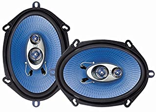 "5"" x 7"" Car Sound Speaker (Pair) - Upgraded Blue Poly Injection Cone 3-Way 300 Watts w/ Non-fatiguing Butyl Rubber Surroun..."