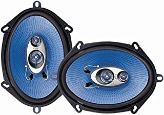 """5"""" x 7"""" Car Sound Speaker (Pair) - Upgraded Blue Poly Injection Cone 3-Way 300 Watts w/ Non-fatiguing Butyl Rubber Surround 80 - 20Khz Frequency Response 4 Ohm & 1"""
