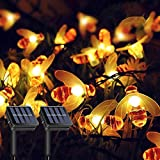 LiyuanQ Solar String Lights, 2 Pack 30 LED Solar Bee Fairy Lights 8 Modes Copper Wire Lights Waterproof Outdoor String Lights for Garden Patio Gate Yard Party Wedding Indoor Bedroom (Warm White)