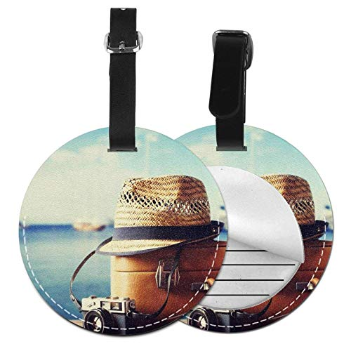Luggage Tags Suitcase Hipster Hat Photo Camera Suitcase Luggage Tags Business Card Holder Travel Id Bag Tag