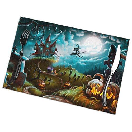 Felsiago Halloween Night Mystery Friedhof Tischsets Wärmeisolierung Fleckenbeständig rutschfeste waschbare Tischsets Küchen-Esstischdekoration 6er-Set, 18 x 12 Zoll