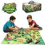 Wenosda Dinosaure Jouet Figure avec Tapis de Jeu, Dino Playset Dragon avec Tapis Tapis de Jeu et Voiture Jouets Éducatifs pour Enfants, Enfants