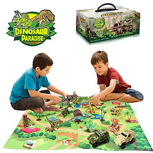 Wenosda Dinosaurier Spielzeugfigur mit Spielmatte,Dinosaurier Spielzeug Set Dino Spielset Drache mit Teppich Spielmatte & Auto Lernspielzeug für Kinder