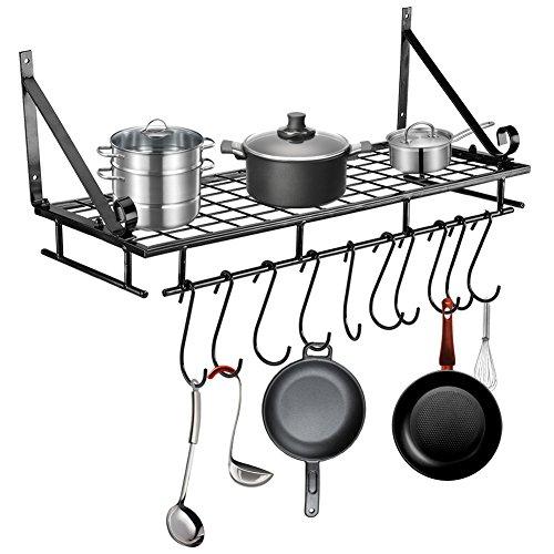 AYNEFY Estante para colgar sartenes, de metal, montado en la pared, con 10 ganchos, organizador de almacenamiento de cocina para cocina, balcón o baño