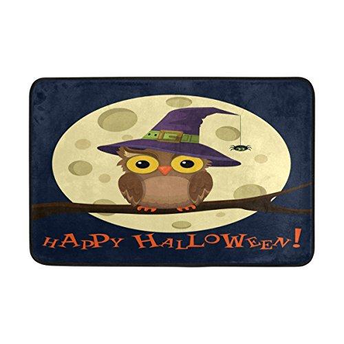 Use7 Happy Halloween Hipster Hibou Pleine Lune Paillasson d'entrée intérieur extérieur Tapis de Sol de Salle de Bain 59,9 x 39,9 cm
