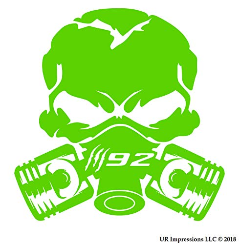 UR Impressions LGrn Claw Marks 392 Piston Gas Mask Skull Decal Vinyl Sticker Graphics for Cars Trucks SUV Vans Walls Windows Laptop Lime Green 5.5 inch UR688-LG
