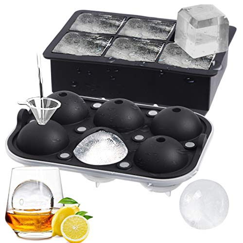 ROTTAY Ice Cube Trays (Set of 2), Sphere Ice Ball Maker with Lid & Large Square Ice Cube Maker for Whiskey, Cocktails and Homemade, Keep Drinks Chilled