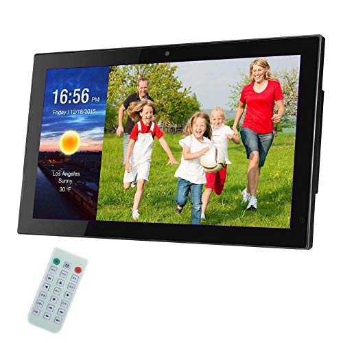 Digitaler Bilderrahmen 24 Zoll IPS Display 16:9 HD Ultra Slim Breitbild Elektronischer Bilderrahmen Mit Fernbedienung Elektronischer Fotorahmen Unterstützt USB 2.0,SD/SDHC/MMC-Kartenslot,Black