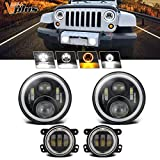 Partsam 7 inch Jeep LED Headlights w/White DRL Halo Ring Turn Signal Amber + 4 inch LED Fog Lights w/DRL H16 5202...