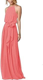 Amore Bridal Flowy Simple Beach Boho Dress Halter Long Bridesmaid Gown