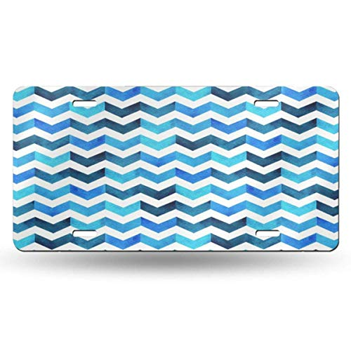 BRIGHT JUNAY Cool Metal License Plate,Black Water Color Hand Painting Blue and White Navy Tone Colorful Herringbone Zigzag Design Scarf Car Front License Plate 6 Inch X 12 Inch