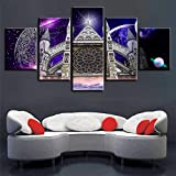 65Tdfc Mpresiones sobre Lienzo Decoración Wall Art HD Print Pictures Frame Poster 5 Piezas Abadía Y Planetas Abstractos Vista Nocturna Lienzo Pintura Modular