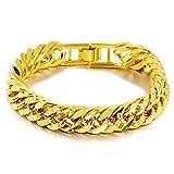 LQXZJ Pulsera de oro de 24 quilates chapado en los hombres clásicos, AliExpress exclusivamente for la joyería, pulsera clásico (12 cm) (Color : Gold)