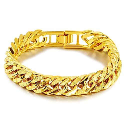 LLYX-Pulsera de Moda, Pulsera De Oro De 24 Quilates Chapado En Los Hombres Clásicos, AliExpress Exclusivamente For La Joyería, Pulsera Clásico (12 Cm) (Color : Gold)