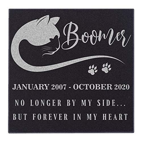 Pet Memorial Stone Personalized - Granite Cat Grave Marker | 6 x 6 |Sympathy Poem, Loss of Cat Gift, Indoor - Outdoor Tombstone Headstone - Cat Grave Marker w/Pet Name and Dates #7