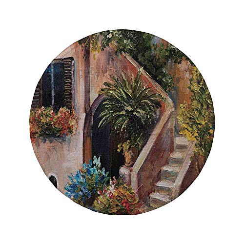 Rutschfreies Gummi-Rundmaus-Pad Rustikal Terrassenblumen und Gartenhaus Griechenland mit rustikalem Fensterölgemälde Grünbraun und Pfirsich 7.9