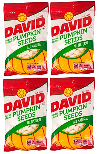 DAVID | Roasted and Salted Pumpkin Seeds | All Natural 2 Oz Per Bag | 4 Pack