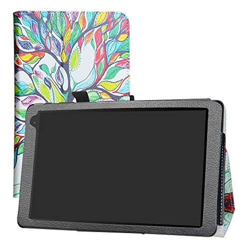 LFDZ Alcatel 1T 10inch Funda, Soporte Cuero con Slim PU Funda Caso Case para 10' Alcatel 1T 8082 10inch Tablet (No Encaja 7' Alcatel 1T 7 Inch 8068 / Alcatel 1T Smart/Alcatel 10T),Love Tree