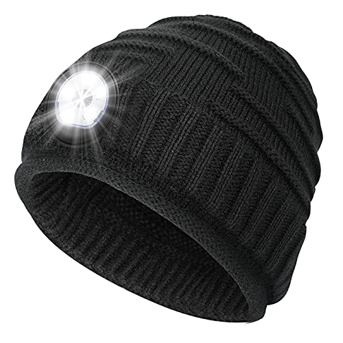 Mens Gifts Beanie Hat with Light - Christmas Stocking Stuffers Women Men Rechargeable Headlamp Cap LED Flashlight Winter Hats Camping Running Fishing Gear Gift Ideas for Dad Mom Family Boyfriend Teen