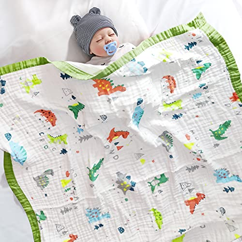 Wuudi Manta de Muselina para bebé 120 x 150 cm, Manta de edredón de Dibujos Animados de algodón Suave de 6 Capas, Manta para Asiento de bebé, Toallas de baño, Manta para Envolver