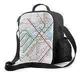 Isolierte Lunchtasche Boston Metro Karte Kühltasche tragbare Lunchbox Tasche für Erwachsene und Kinder zur Schule, Büro, Outdoor