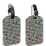 Etiquetas de equipaje, Cuero Personalizado Etiqueta de Equipaje Conjunto de Etiquetas de Identificación de Equipaje Accesorios de Viaje-Set de 2 Navidad Rojo Holly Decor Negro Blanco Rayas