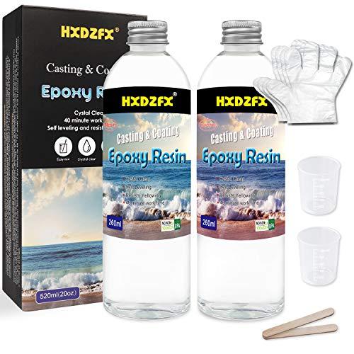 Epoxidharz mit Härter 520ml/20oz set Profi Qualität glasklar Gießharz für Holz, Bonus 2tlg Messbecher, 2tlg Stäbchen, 1 Paar Gummihandschuhe