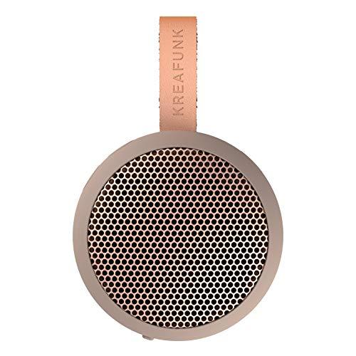 KREAFUNK AGO - Altavoz portátil Bluetooth con Caja pasiva para Altavoces (Ivory Sand/Oro Rosa)