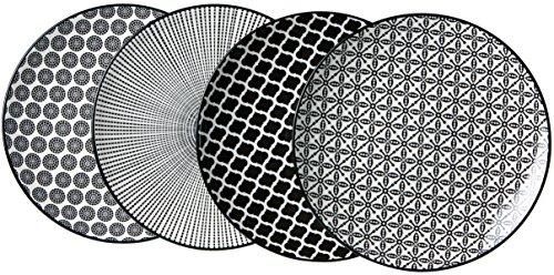 Ritzenhoff & Breker Dessertteller-Set Takeo, 4-teilig, 21,5 cm Durchmesser, Porzellangeschirr, Schwarz-Weiß