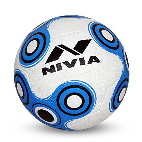 Nivia SPINNER PVC Football ( Size: 5, Color : White/Blue, Ideal for : Training/Match )