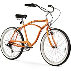 """Single speed cruiser bike, great for casual rides around town, by the beach, or throw the neighborhood 19"""" Frame, 26"""" Wheels, will fit most adult men 5'5"""" and above Classic cruiser frame design with oversized dual spring saddle and balloon tires Simp..."""