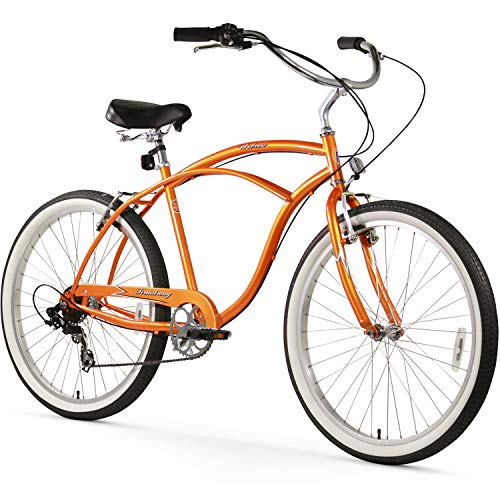 Firmstrong Urban Man Beach Cruiser Bike, Mens Bicycle 26-Inch, 1-Speed, Orange