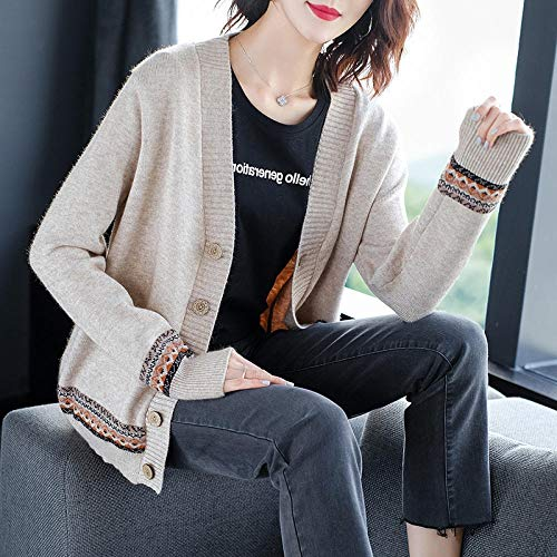 LIYDENG Chaqueta exterior para mujer de punto para mujer, estilo occidental, camiseta corta (color café claro, talla: talla única)