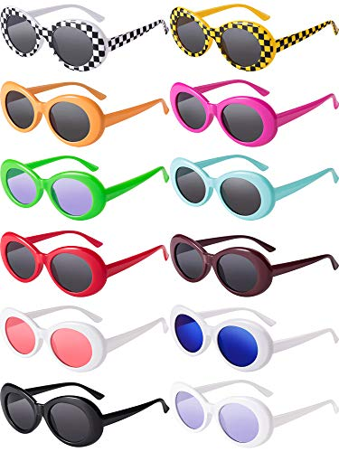Blulu 12 Pairs Clout Oval Goggles Oval Kurt Mod Thick Frame Round Lens Sunglasses Oval Round Glasses Mod Sunglasses for Women Men Teenagers Girls Boys 12 Colors