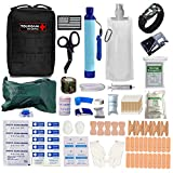 TOUROAM Emergency First Aid Trauma Kit-Personal Survival Water Filter Purifier Straw+IFAK MOLLE Tactical Bag with Compress Israeli Bandage,EMT Shears for Vehicle Camp Hunt Adventure